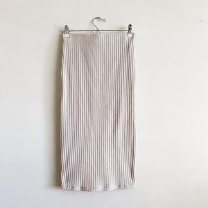 Cream Knit Pencil Skirt